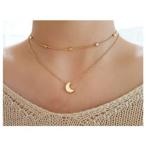 Jewelry - 4 for $20 Layered Moon Choker Necklace (Gold)